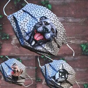 DOG Face Mask, Double Layer, DOG BONES  BULLDOG  PUG STAFFY ROTTY 80 Dog designs