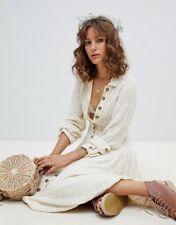 $198 Free People Diamond Head Embroidered Maxi Dress Raw Linen Ivory Boho M NWT