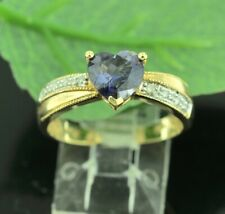 14k Solid yellow gold  Natural Diamond and Heart Iolite ring