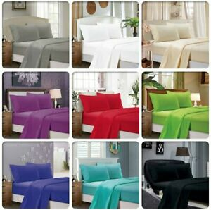 1000TC Ultra Soft 4ps Flat&Fitted Sheet Set Single/Queen/Super King Size Bed New