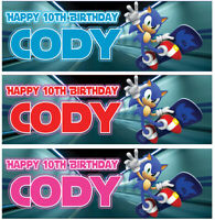 2 x personalised sonic birthday banner children nursery kids party decoration