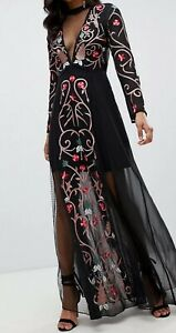 Frock And Frill All Over Embroidered Maxi Dress