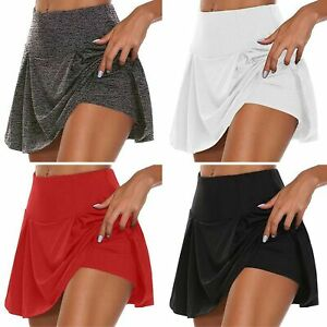 Womens Lined Skorts Ladies Gym Running Workout Tennis Sports Shorts Skirts
