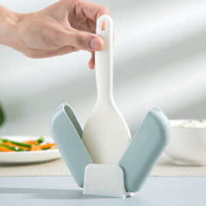 Rice Scoop Stand Holder Automatic Closed Dust Cover Non-stick Rice Shovel
