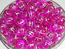 NEW 14MM Pink Transparent Acrylic Beads Loose Round Spacer Drawbench Style 20PC
