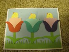 Hatching Easter/Spring  Chicks with Tulip Eggs Handmade Card Kit Lot 4