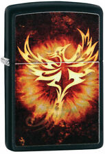 """Zippo Lighter """"Phoenix With Flames """" No 29866 - New on black matte finish"""