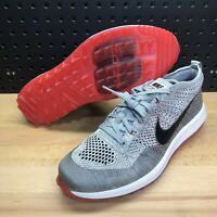 Nike Flyknit Racer G Golf Shoes 909756-002 Wolf Grey Red Men's Size 10
