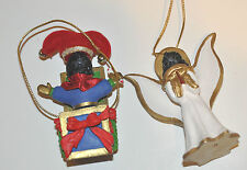 2 Black Poodle Christmas Ornaments Angel and Jack in the Box