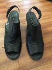 Paul Green Black Ladies Leather Shoes Open Heel Size 5