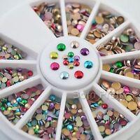 350Pcs/Box 1-3.5mm Colorful Round Flat 3D Nail Art Decoration Stud Charm Craft
