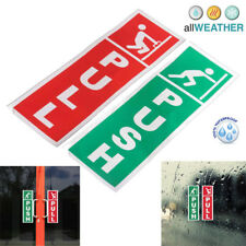 2X Green Push and Red Pull Door Window Vinyl Stickers Warning Signs Information
