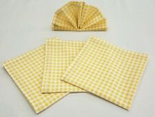Yellow & White Checked Gingham Cloth Napkins (Set of 4)