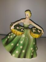 "Lefton Ceramic Woman Green Dress 2 Flower Baskets 6 1/2"" Planter #1489 Japan Vtg"