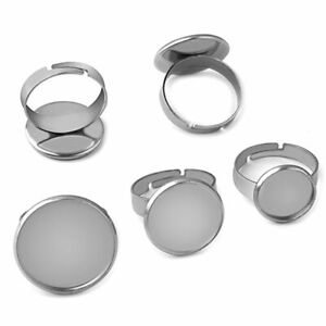 10pcs Stainless Steel Adjustable Blank Ring Base Cabochons Tray Jewelry Findings