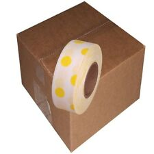 White / Yellow 12 Rolls Flagging Polka Dot Tape 1 3/16 in x 300 ft Non-Adhesive