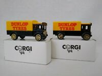 2 Corgi Dunlop Tyres AEC Cabover Van Truck Lorry Diecast Models with Boxes