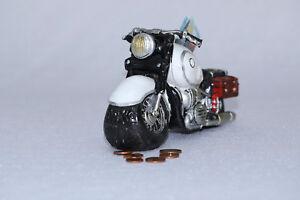 Spardose Motorrad Biker Old Style weiß Chopper Sparschwein  Geldgeschenk Box