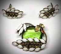 OOOO-LA-LA🍏EARLY SCHREINER NY🥝BROOCH/EARRINGS SET🥑3-DIMENSIONAL🍐INVERTED