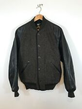 Sugarcane Steerhide Leather Sleeve Brown's Beach Fabric Varsity Jacket 40