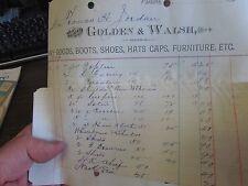 GOLDEN & WALSH - DRY-GOODS, BOOTS , SHOES, HATS -  SCRANTON PA  -  BILLHEAD 1900