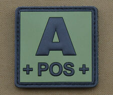 "PVC / Rubber Patch ""Blood type A POS + OD"" with VELCRO® brand hook"