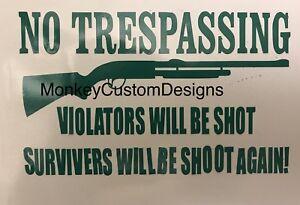 No Trespassing Vinyl Decal Sticker - Choose Color Gun Rights 2nd amendment