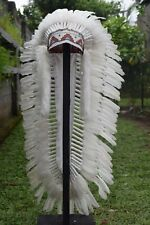 Long Native American Indian Full White Feather Headdress Costume War Bonnet