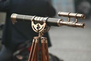 """Antique Nautical Brass Leather 32"""" Telescope with Wooden Tripod Stand Home Decor"""