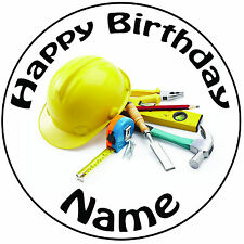 "Personalised Birthday Builder's Hat & Tools Round 8"" Precut Icing Cake Topper"