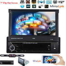 HD GPS 1Din Flip Out Car Stereo Radio DVD mp5 Player Bluetooth DAB+ Map Mirror