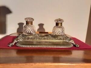 Antique Brass Inkwell, Vintage Desk Top Set