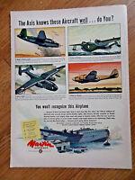 1943 Martin Aircraft Ad WW II Theme Marauder Mariner PBM-3 Baltimore