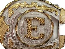 Ornate Vintage Alpaca Mexico Belt Buckle Letter E Silver with Gold Cowboy Rodeo