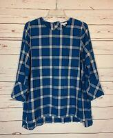 J.Jill Women's S Small Blue Black Plaid Long Sleeve Fall Winter Top Shirt Blouse