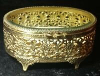 Antique French Beveled Glass Brass Filigree Footed Casket Jewelry Box Ormolu