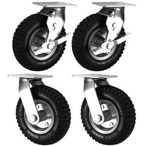 "Air Filled Black Rubber Pneumatic Swivel Braked/Swivel Castors (200-300MM/8-12"")"