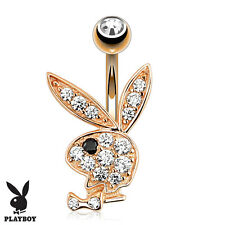Rose Gold Plated Belly Bar / Navel Ring With Paved CZ Playboy Bunny