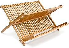 Bamboo Wood 2 Tier Dish Rack Kitchen Sink Dry 34 Plate Rack Drainer Foldable