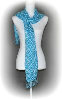 INC. International Concepts Women's Rectangle Scarf One Size Aquamarine Tassels