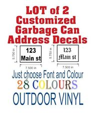 Lot of 2 Garbage Can Custom Address Outdoor Vinyl Letter Decal