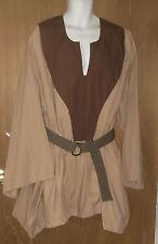 "Sca Medieval Garb Chest 60"" around tunic shirt Renaissance Larp Tan w/Brown"