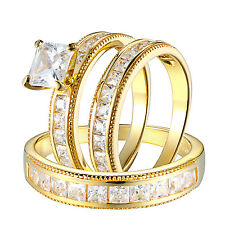 Princess Cut His & Her Trio Wedding Ring Set 14K Gold Finish Sterling Silver CZ