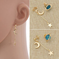 Korean Style Women Blue Planet Earrings Moon Star Drop Dangle Jewelry Accessory