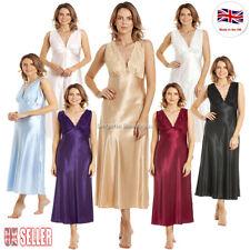 Long Satin Lace Nightdress Black Gold Claret Ivory Blue Pink Purple Size 10 - 28
