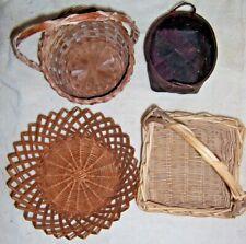Lot of 4 Wicker Baskets for Christmas Halloween Seasonal Crafts