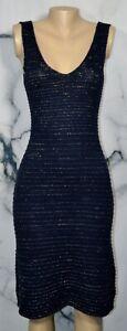 SOFT SURROUNDINGS Blue Crochette Sleeveless Sweater Dress XS Sparkly Gold Flecks