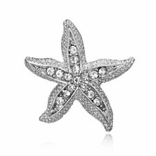 Pin Xmas Costume Decor Jewelry Women Starfish Animal Rhinestone Crystal Brooch