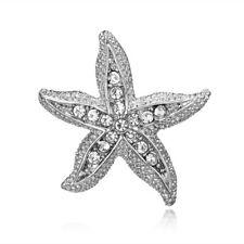 Women Starfish Animal Rhinestone Crystal Brooch Pin Xmas Costume Decor Jewelry