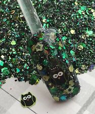 glitter mix acrylic gel nail art  WHAT A HOOT  Limited Edition